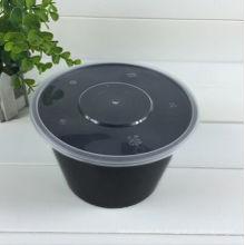 Envase de comida disponible del compartimiento de Microwaveable & Freezer del plástico negro 650ml con la tapa clara