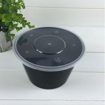 650ml Schwarz Kunststoff Mikrowelle und Gefrierfach Fach Einweg-Lebensmittelbehälter mit klaren Deckel