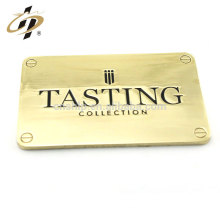 China supplier cheap custom handbags metal gold plate badge