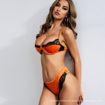 Lingerie-sexy Sets Women Sexy Big Breast Lingerie Fashion High Quality Velvet Wholesale Custom You Design Lace Two Pieces