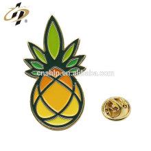 Pino de lapela de abacaxi de esmalte macio personalizado promocional presente com embreagem de borboleta