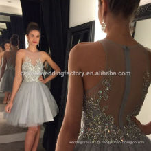 Sexy Ball Gown Robes de bal pour l'obtention du diplôme 2017 robe de soiree courte Crystal galajurken Homecoming Short Grey Party Gowns MC887