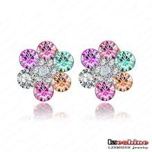 Últimas colorido cristal austríaco flor Stud Earring moda (ER0017-C)