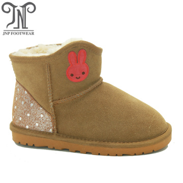 Young Girls Brown Ankle Boots with Embroidery Rabbit