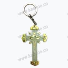 Дешевая световая брелка для ключей с распятием Розария, брелок для ключей