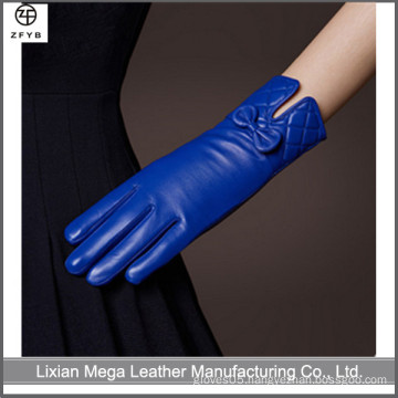 Daily Life Usage and Plain Style ladies leather gloves with bow