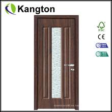 Interior de vidrio de estilo MDF Puerta de madera de PVC (puerta de madera de PVC)