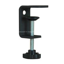 Pince de table réglable en métal à revêtement en poudre noire