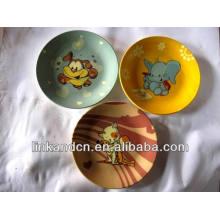 Haonai 2014 vente chaude d'animaux cadeau de céramique assiette pour les enfants