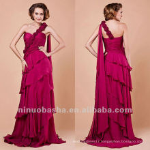 Sheath Handmade Flower Tiered One Shoulder Evening Dress Party Gown