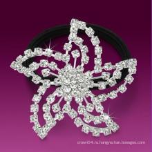 Мода металлический посеребренный кристалл цветок форма kknekki резинка для волос частота