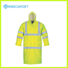Fluorescence Color Reflective Waterproof PVC Polyester Rain Jacket