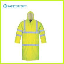 Veste imperméable réfléchissante de polyester de PVC de couleur de fluorescence