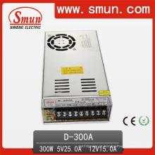 Fonte de alimentação de comutação de saída dupla D-300A 5VDC 25A / 12V 15A