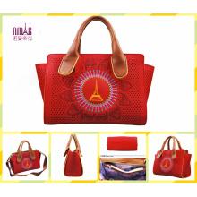 Guangzhou Supplier Designer Embroidery Printing PU Leather Handbag (F50)