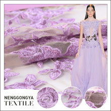 Top quality Professional 100% polyester tulle rose embroidery fabric