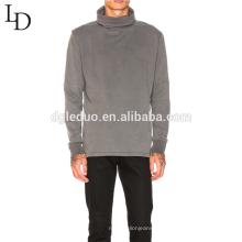 Nova chegada cinza em branco de alta pescoço algodão mens pullover moletom com capuz