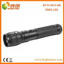 Vente en vrac en usine Prix bon marché 3aaa alimenté par batterie 3w Aluminium USA CREE High Power led Focus Flashlight pour Night Light