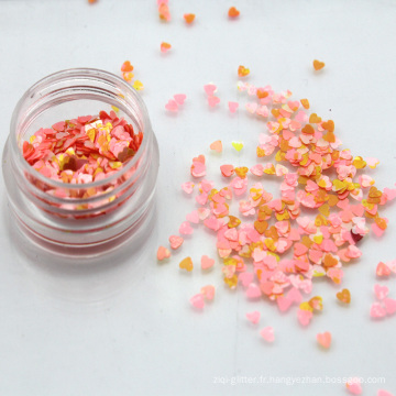 Gros 2.5mm Aquarelle Coeur Forme Chunky Glitter Flakes Nail Sequins