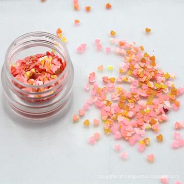 Atacado 2.5mm Aquarela Coração Forma Chunky Glitter Flakes Prego Lantejoulas