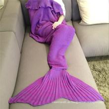 Großhandelsheißer Großverkauf-Vlies-erwachsene Kinder gestrickte Mermaid-Schwanz-Decke