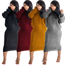 C3210 2019 wholesale winter clothing sexy long sleeve solid color turtleneck loose trendy women two piece skirt set wholesale