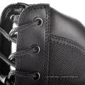 Длинные черные кожаные сапоги полиции с молнией