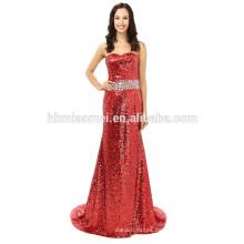 Einfache elegante Meerjungfrau Perlen Strapless bodenlangen Pailletten rotes Abendkleid