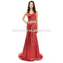 Simple Elegant Mermaid Beaded Strapless Floor-Length Sequins red Evening Dress
