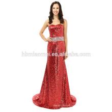 Простой элегантный Русалка без бретелек из бисера длиной до пола, красный вечернее платье