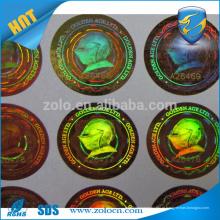 ZOLO Tamper evidente etiqueta holograma personalizado / holograma de segurança adesivo