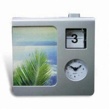 Novelty Desk Clock with Calendar and Photo Frame, Made of Plastic, Customized Dial is Accepted
