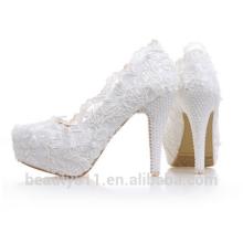 Dernières nouvelles chaussures de mariage de modèles de conception de chaussures chaussures de plate-forme de fleur femmes pompes de talon haut WS006