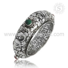 Hermoso brazalete de plata de múltiples piedras preciosas 925 joyas de plata esterlina joyas hechas a mano mayorista