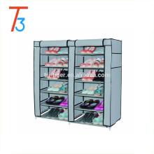 Gabinete para zapatos con puerta corredera de tela a prueba de polvo de puerta doble de 6 niveles