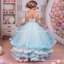Nueva moda vestidos de color azul flor de encaje largo maxi sin mangas para princesa vestido modelo 10 años de edad niña