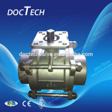 DN 40 SS316/304 Precision 3-PC Ball Valve With High Mounting Pad