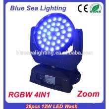 DMX512 36pcs 10W RGBW 4in1 conduit de lavage LED de scène LED 14CH