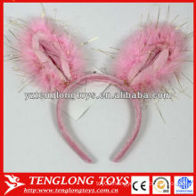 Pink rabbit ears carton plush hair band for kids with sequins on it