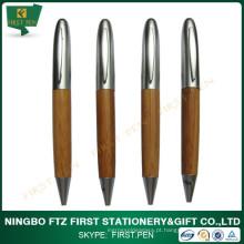 Caneta promocional de bambu reciclado, clip de metal