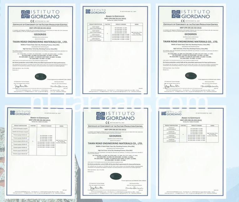 HDPE square net certificates