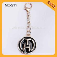 MC211 Personalizado metal ouro pendurar rótulo bolsa logotipo metal tagswith cadeia gancho