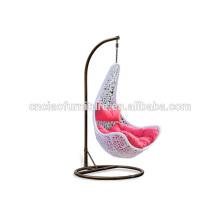 Cadeira de balanço do balanço do Rattan do pátio da folha de bordo com suporte