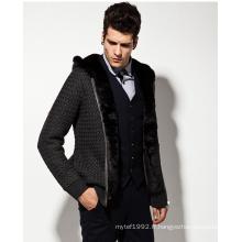 Sweat à capuche en laine à motifs en laine à manches longues homme