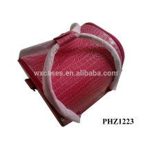 sac cosmétique de PVC de haute qualité avec motif crocodile rose et 4 plateaux amovibles à l'intérieur
