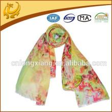 Warm Wraps de inverno espessos longos e quentes Scarf Shawl Neck Fashion Light Color Fibra de lã tingida de xaile impresso