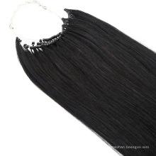 Wholesale 20 Inch Color #1b No Tip Hair with Micro Ring Human Hair Virgin Hair Remy Hair Extension Raw Hair