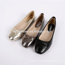 Elegant women's leather shoe square toe bowtie ballerina flats for lady