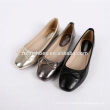 Mulheres elegantes de couro sapato quadrado toe bowtie bailarina flats para senhora