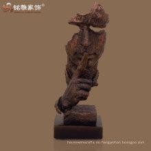modernizado, cobre, color, polyresin, resumen, humano, cara, estatua